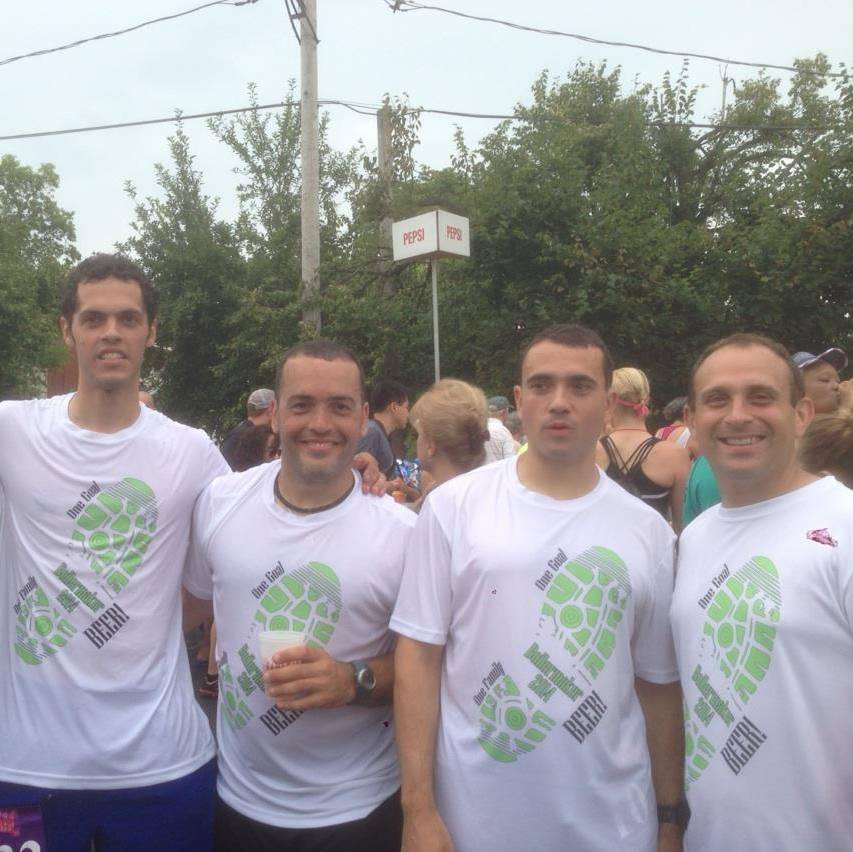My brother and cousins wearing the shirts we made them for the boilermaker. So much fun!
